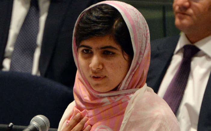 Pakistani student Malala Yousafzai speaks before the UN Youth Assembly on 12 July 2013. Picture: AFP.