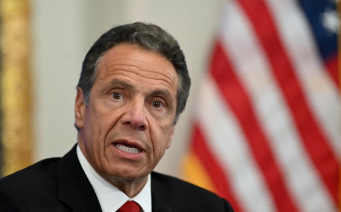 FILE: New York Governor Andrew Cuomo speaks during a press conference at the New York Stock Exchange on Wall Street in New York City on 26 May 2020. Picture: AFP