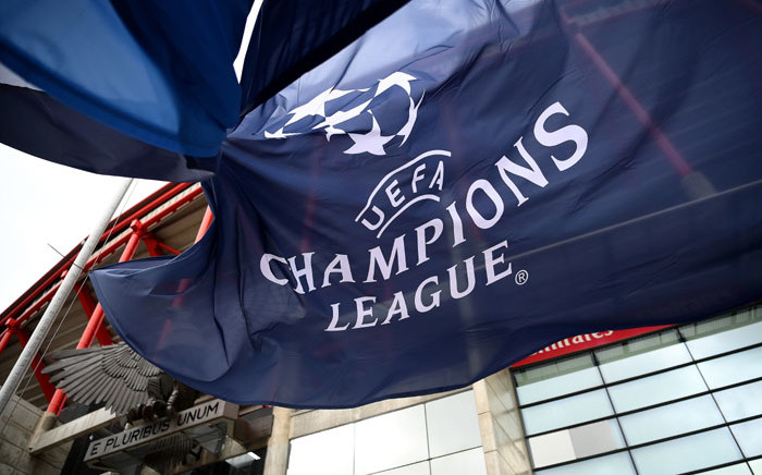 A Uefa Champions League flag flutters outside the Luz Stadium in Lisbon on 11 August 2020 on the eve of the Uefa Champions League quarterfinal football match between Atalanta and Paris Saint-Germain. Picture: AFP