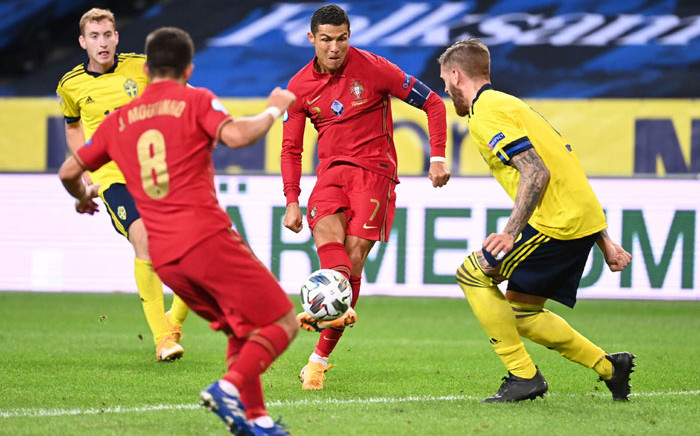 Cristiano Ronaldo scores for Portugal in their UEFA Nations League match against Sweden on 8 September 2020. Picture: @EURO2020/Twitter