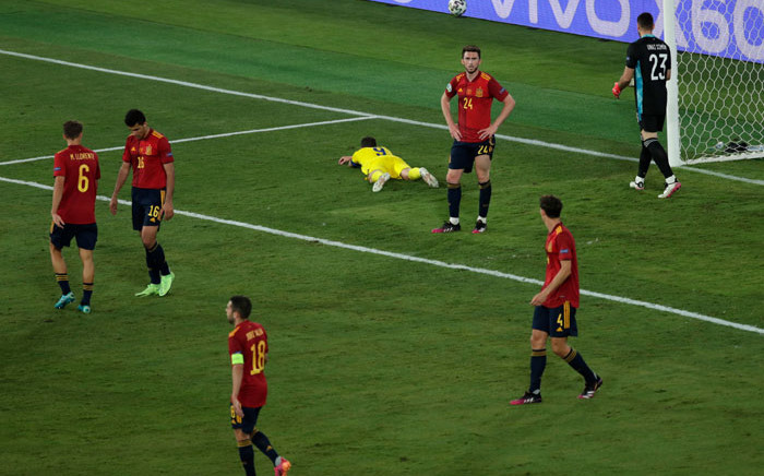 Spain players react to a missed chance by Sweden's Marcus Berg during their Euro 2020 match on 14 June 2021. Picture: @EURO2020/Twitter