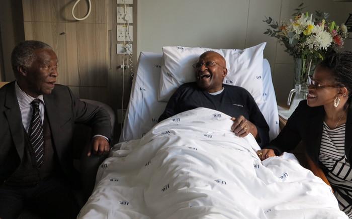 Former President Thabo Mbeki visited Archbishop Emeritus Desmond Tutu at a Cape Town hospital on 30 July 2015. Picture: Desmond & Leah Tutu Legacy Foundation/Oryx Media.