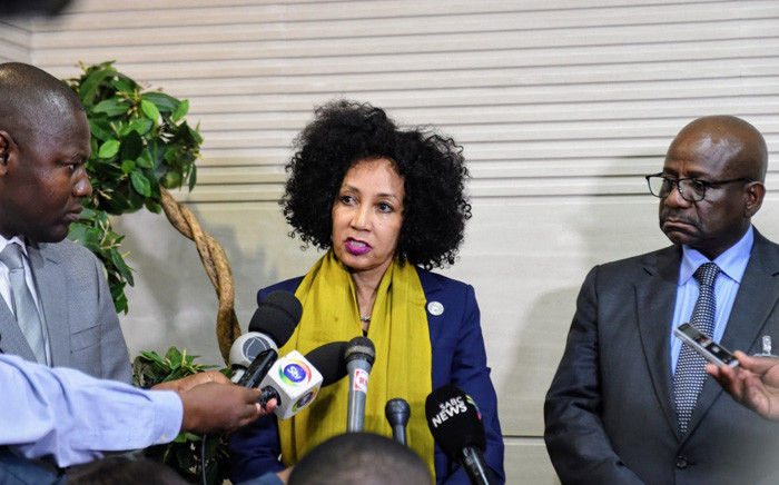 Minister of International Relations and Cooperation Lindiwe Sisulu briefs media on South African humanitarian assistance and the rescue efforts by the SANDF following Cyclone Idai. Picture: @SAgovnews/Twitter.