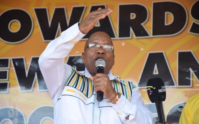 Former President Jacob Zuma addresses a crowd in the West Rand region during the voter registration weekend. Picture: @PresJGZuma/Twitter