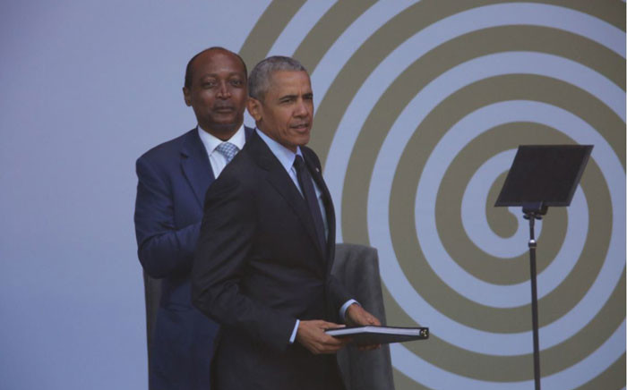 Former US President Barack Obama at the 16th Nelson Mandela Annual Lecture. Picture: Christa Eybers/EWN