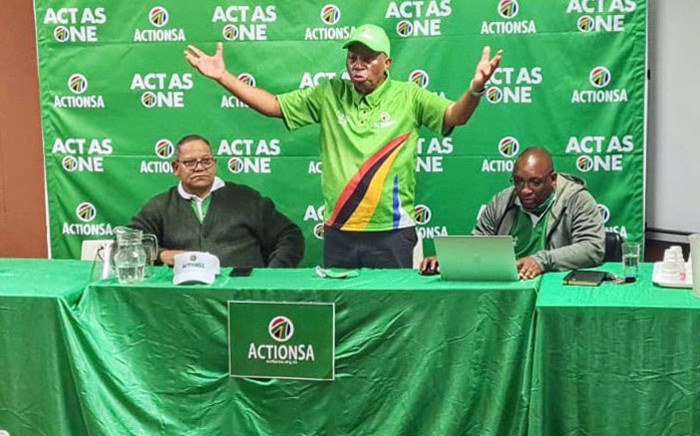 ActionSA leader Herman Mashaba (centre) makes a point during an engagement in Dobsonville on 11 October 2020. Picture: @Action4SA/Twitter