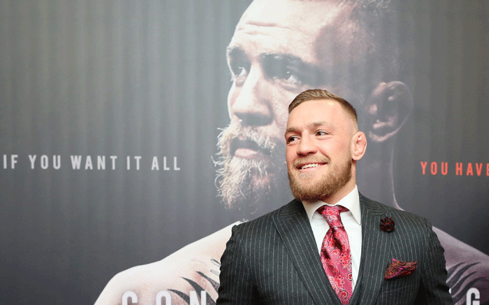 Irish mixed martial arts star Conor McGregor poses upon arrival to attend the world premiere of the documentary film 'Conor McGregor: Notorious' at the Savoy Cinema in Dublin, Ireland on 1 November 2017. Picture: AFP.