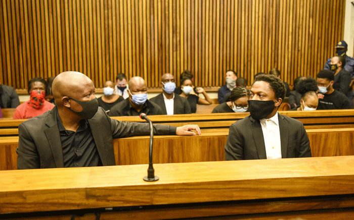 The EFF's Julius Malema and Mbuyiseni Ndlozi in the Randburg Magistrates Court on 9 March 2021. They are accused of assaulting Colonel Johannes Venter at the funeral of struggle stalwart Winnie Madikizela-Mandela at the Fourways Memorial Park in 2018. Picture: @EFFSouthAfrica/Twitter