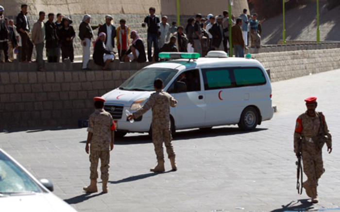 Emergency personnel arrive at the site of a suicide car bombing at the defence ministry in the Yemeni capital Sanaa on 5 December, 2013. Picture: AFP