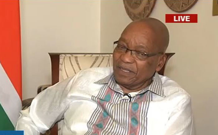 President Jacob Zuma briefs the nation a day after the ANC NEC announced the decision to recall him. Picture: YouTube screengrab.