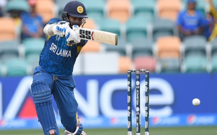 Sri Lanka batsman Kumar Sangakkara plays a shot at the Bellerive Oval ground during the 2015 Cricket World Cup Pool A match between Scotland and Sri Lanka in Hobart on March 11, 2015. Picture: AFP.