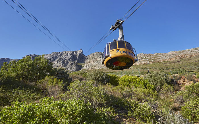 A cablecar on its way down from Table Mountain in Cape Town. Picture: @TableMountainCa/Twitter