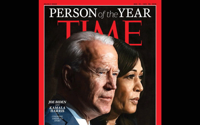 US President-elect Joe Biden and Vice President-elect Kamala Harris on the cover of 'Time' magazine. Picture: @TIME/Twitter.