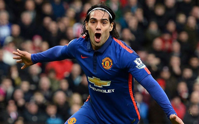 Manchester United's striker, Radamel Falcao celebrates his goal against Stoke City in the English Premier League on 1 January 2015. Picture: Manchester United official Facebook page.