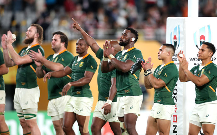 FILE: The Springboks acknowledge the crowd after a Rugby World Cup match. Picture: @Springboks/Twitter