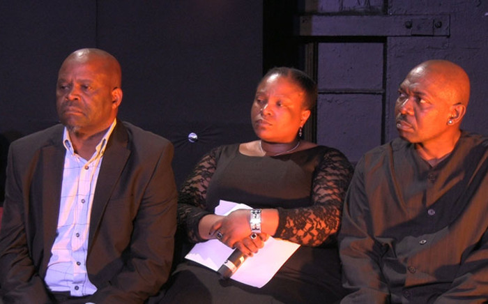 FILE: Fired 'Generations' actors Patrick Shai (Left), Slindile Nodangala (Center) and Menzi Ngubane (Right) address the media at a briefing on 26 August, 2014 following their dismissal from the television series. Picture: Reinart Toerien/EWN.