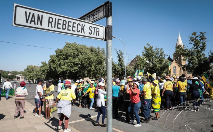 ANC members outside the Senekal Magistrates Court on 16 October 2020. Picture: Abigail Javier/EWN