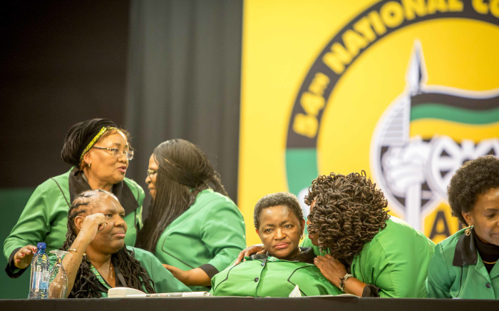Bathabile Dlamini sits with other ANC Women's League members in the plenary at the party's 54th national conference on 16 December 2017. Picture: Thomas Holder/EWN