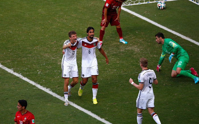 Thomas Mueller of Germany (2nd L) celebrates scoring his team's fourth goal and completing his hat trick. Picture: Fifa.com