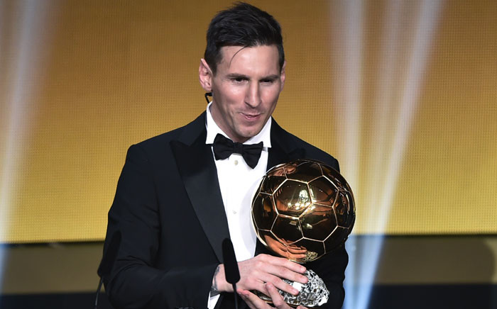 FC Barcelona and Argentina's forward Lionel Messi holds his trophy after receiving the 2015 FIFA Ballon d'Or award for player of the year during the 2015 AFIFA Ballon d'Or award ceremony at the Kongresshaus in Zurich on January 11, 2016. Picture: FP