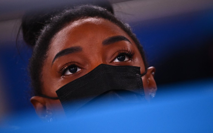 USA's Simone Biles attends the artistic gymnastics women's all-around final during the Tokyo 2020 Olympic Games at the Ariake Gymnastics Centre in Tokyo on 29 July 2021. Picture: AFP