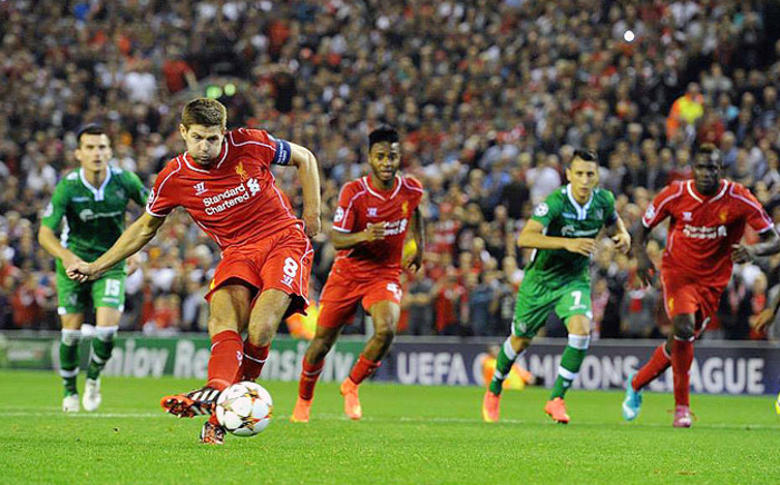 Liverpool captain Steven Gerrard converts from the penalty spot for the winning goal against Ludogorets in the the Uefa Champions League on 17 September 2014. Picture: Official LFC Facebook page.