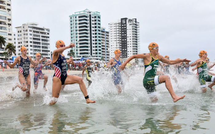 Competitors take to the water in a Triathlon World Cup event. Picture: @worldtriathlon/Twitter