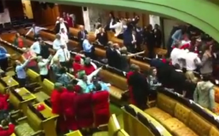 FILE: Last month, Parliament was considering sanctions against defiant EFF MPs who caused Zuma's question and answer session to be abandoned without him uttering a single word. Picture: Screengrab Youtube/Gwandile.