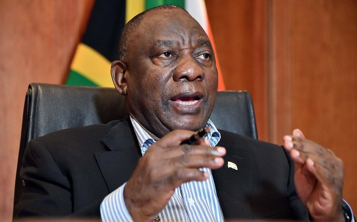 President Cyril Ramaphosa interacting with communities across the nation through a virtual Presidential Imbizo on coronavirus. Picture: @PresidencyZA/Twitter
