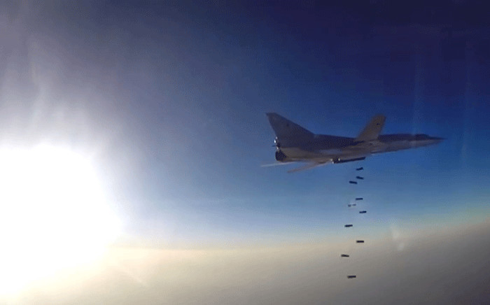 FILE: Russian Defence Ministry footage shows a Russian bomber Tupolev Tu-22M3 conducting airstrike. Picture: AFP