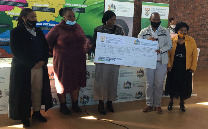 Thubelihle Zondi was among small farmers who has received a voucher to assist them cope with the effects of coronavirus in KwaZulu-Natal. Picture: Nkosikhona Duma/EWN.