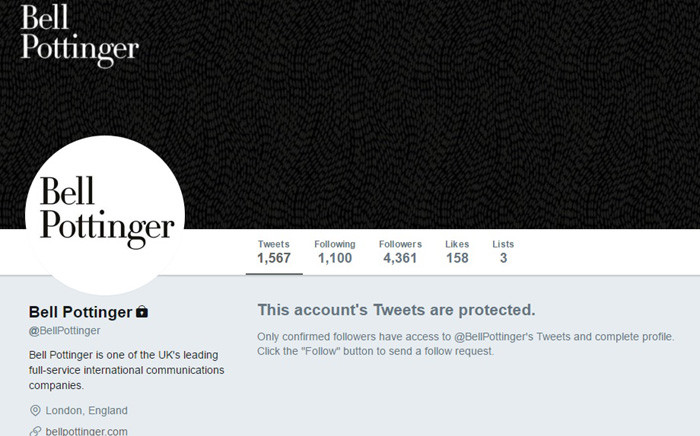 FILE: A screengrab of the protected British public relations firm Bell Pottinger Twitter page. Picture: Twitter.