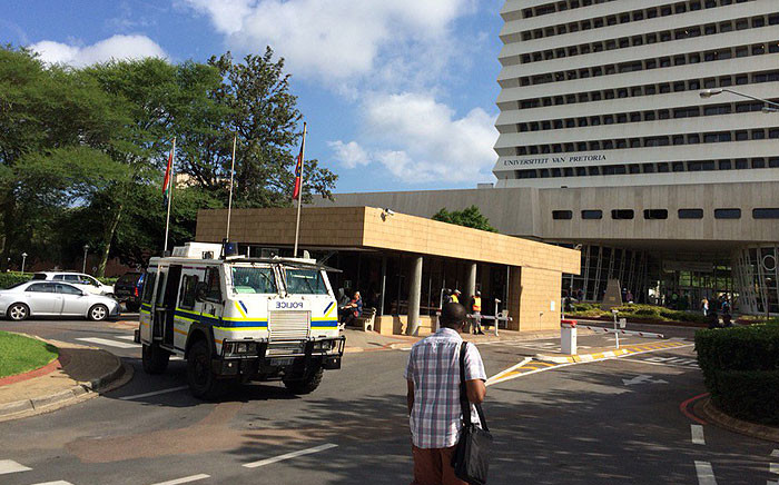 Public Order Police were deployed to the University of Pretoria on 29 February 2016, following violent student protests over the language policy. Picture: Barry Bateman/EWN.