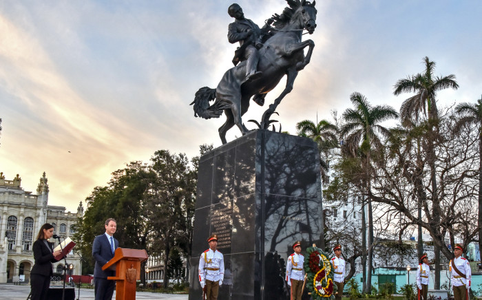 The Bronx Museum Board Chair Joseph Mizzi gives a speech during the inauguration of Cuban National Hero Jose Marti sculputure on its 165th anniversary, in Havana, on January 28, 2018. The sculpture is an exact replica of the one at Central Park in New York, done as a gift of that city to Cuban people. Picture: AFP