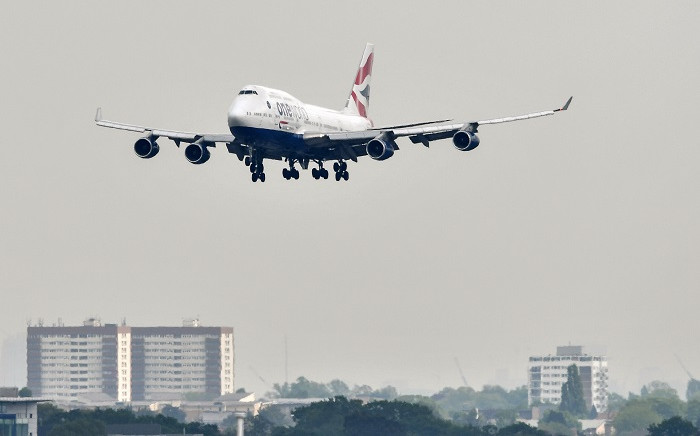 In this file photograph taken on 3 May 2019, a British Airways Boeing 747 passenger aircraft prepares to land at London Heathrow Airport, west of London. Pictur: AFP