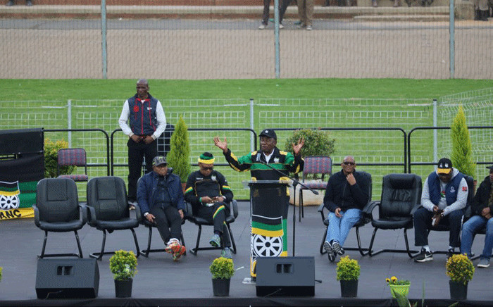 President Cyril Ramaphosa delivers the keynote address at the launch of the #ThumaMina campaign in Tembisa. Picture: @MYANC/Twitter
