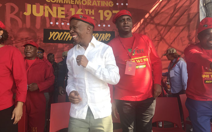 EFF leader Julius Malema at the packed Boipatong Stadium for the Youth Day rally. Picture: Kgothatso Mogale/EWN.