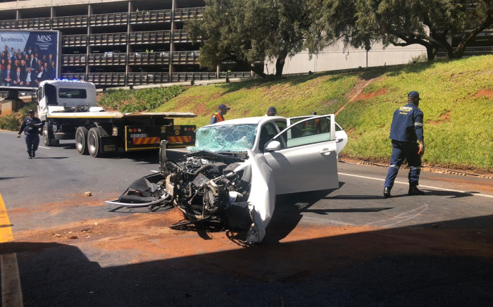 Image of the crash scene where Gavin Watson died in Johannesburg on 26 August 2019. Picture: Mia Lindeque /EWN