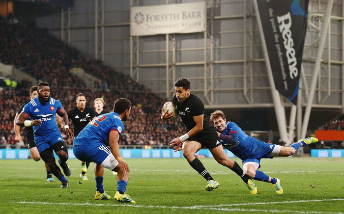 FILE: New Zealand's Rieko Ioane on his way to a try against France on 23 June 2018. Picture: @AllBlacks/Twitter