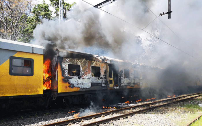 FILE: A Metrorail train set alight in Firgrove, Cape Town. Picture: Supplied.