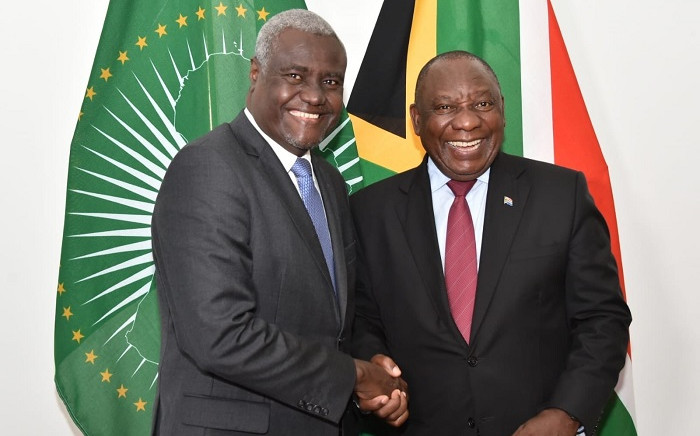 African Union commission head Moussa Faki Mahamat and President Cyril Ramaphosa. Picture: @PresidencyZA/Twitter