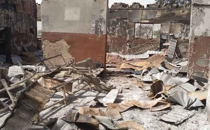 A fire killed at least eight people and left 15,000 others without shelter after raging through a northeast Nigerian camp for people displaced by a war against Islamist insurgents. Picture: @NRC_Norway/Twitter
