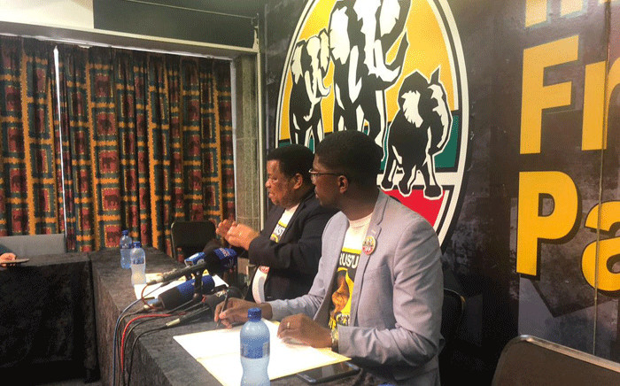 IFP deputy national chairperson Albert Mncwango and IFP national spokesperson Mkhuleko Hlengwa address members of the media on the party's decision to postpone the elective conference. Picture: @IFPinParliament/Twitter.