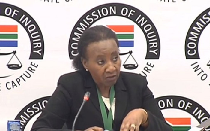 A screenshot of former South African Broadcasting Corporation (SABC) group chief executive Lulama Mokhobo at the state capture commission of inquiry. Picture: SABC Digital News/Youtube