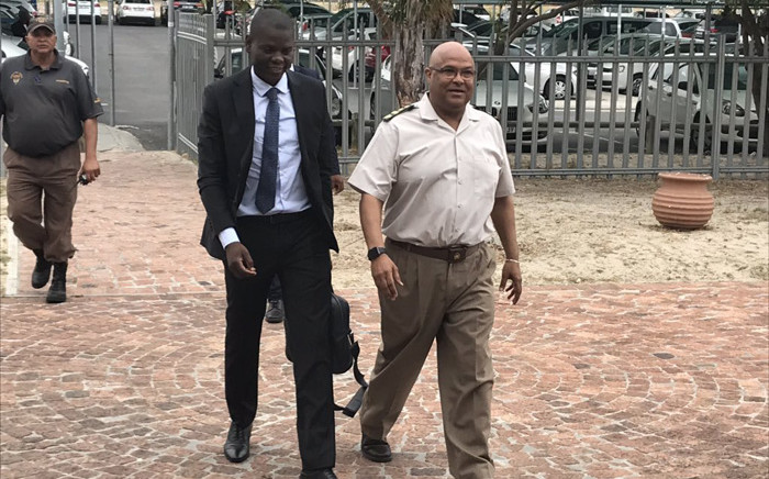 Justice and Correctional Services Minister Ronald Lamola (L) and Commissioner of Correctional Services Arthur Fraser (R) arrive at the Goodwood Correctional Facility on 4 February 2020. Picture: Lauren Isaacs/EWN