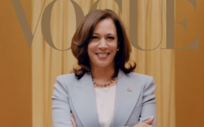US Vice-President-elect Kamala Harris on the February cover of Vogue magazine. Picture: Twitter/@voguemagazine