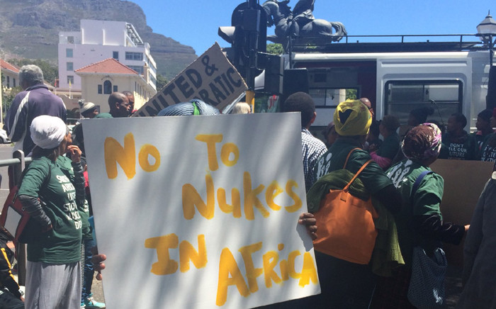 Anti-nuclear deal protesters say the government should instead spend the money on housing. Picture: Graig-Lee Smith/EWN