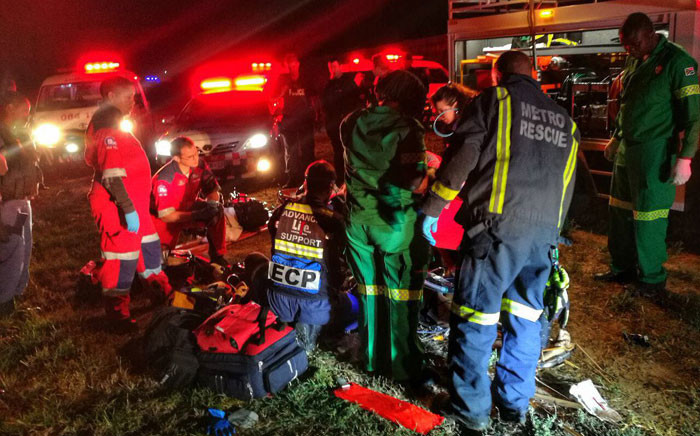 One person was killed and another in a critical condition after the vehicle they were traveling in rolled down an embankment on the R304 in Stellenbosch on 23 December 2017. Picture: ER24EMS.