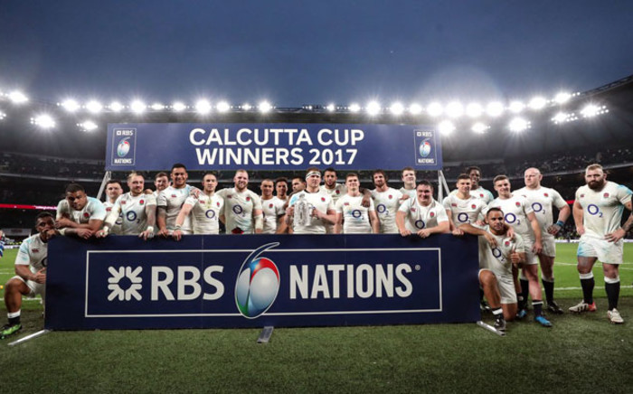 England team with their second consecutive Six Nations title, after beating Scotland on 11 March 2017. Picture:  @SixNationsRugby.
