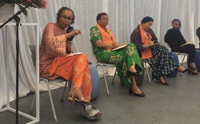 UN Deputy Secretary-General Amina Mohammed and Graça Machel (middle) in Khayelitsha on 26 November 2017. Picture: Graig-Lee Smith/EWN.